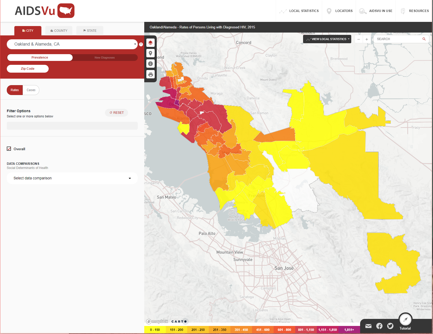 Map of HIV prevalence in Alameda County